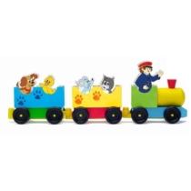 Állatos vonat fa 8 db-os Woody