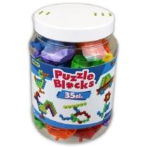 Építőelemek puzzle üveges szett 35 db-os