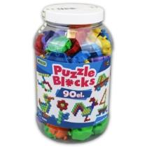 Építőelemek puzzle üveges szett 90 db-os