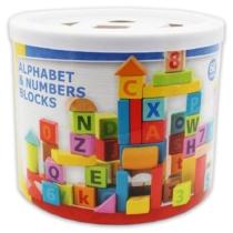 Építőkocka ABC és számok fa szett 60 db-os Woody