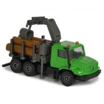 Majorette Mercedes-Benz Zetros fém rönkszállító teherautó zöld 1:64