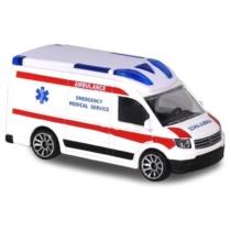 Majorette Volkswagen Crafter fém sürgősségi mentőautó hanggal és fénnyel fehér 1:64