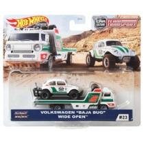 Mattel Hot Wheels Team Transport #23 fém kisautó szett Volkswagen Baja Bug & Wide Open