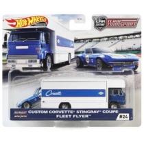 Mattel Hot Wheels Team Transport #24 fém kisautó szett Custom Corvette Stingray Coupe & Fleet Flyer