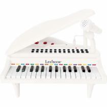 Mini elektromos fehér zongora mikrofonnal és 31 világító billentyűvel