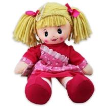 Rongybaba pink színű ruhával 39 cm