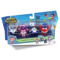 Super Wings Átalakuló játékrepülő 4 db-os készlet, Police Jett, Police Paul, Kim, Rescue Dizzy