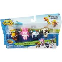 Super Wings Átalakuló játékrepülő 4 db-os készlet, Todd, Dizzy, Police Paul, Bello