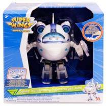 Super Wings Átalakuló játékrepülő hanggal és fénnyel Deluxe Supercharged Astra 17 cm