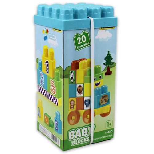 Bébi építőkockák számok és betűk állatok 20 db-os