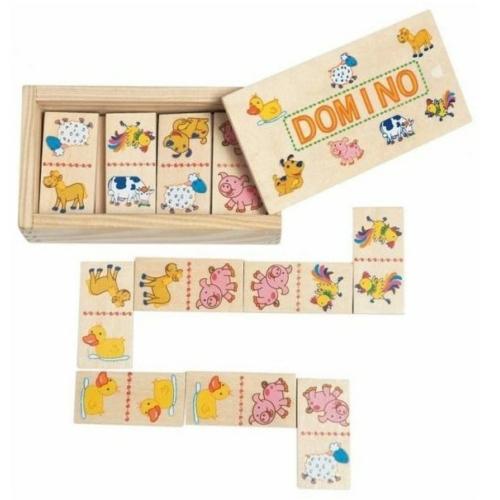 Domino háziállatos mini 28 db-os fa Woody