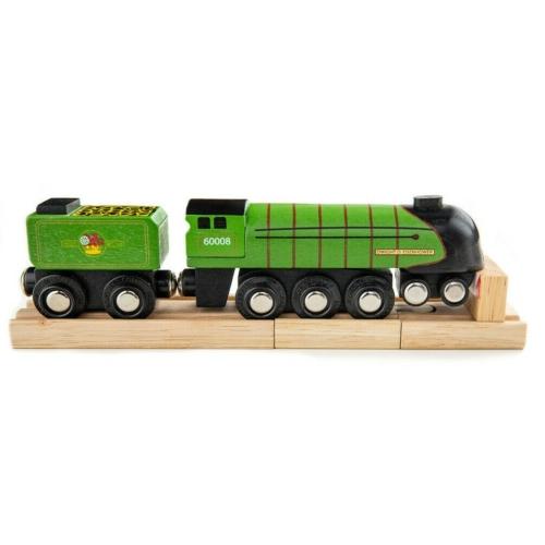 Fa gőzmozdony szeneskocsival sötétzöld Bigjigs