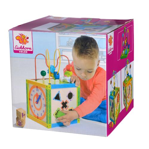 Fa készségfejlesztő színes játék doboz különböző funkciókkal