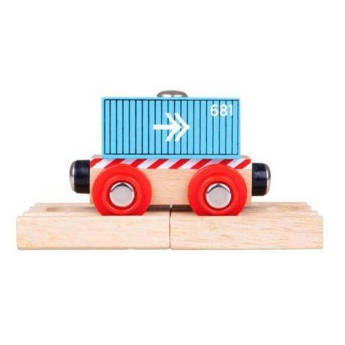 Fa tehervagon kék pályaelemmel Bigjigs