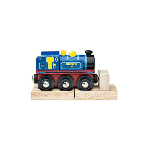 Fa vonatpálya kék mozdony 2 pályarésszel BlueBell Bigjigs