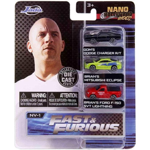 Fast & Furious fém kisautó szett 3 db-os Nano Hollywood Rides (Dodge, Mitsubishi, Ford)