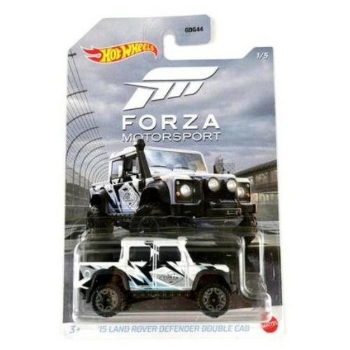 Fém autó 15' Land Rover Defender Double Cab fehér Forza Motorsport Hot Wheels