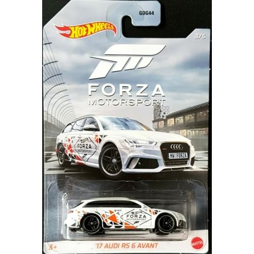 Fém autó 17' Audi RS6 Avant fehér Forza Motorsport Hot Wheels