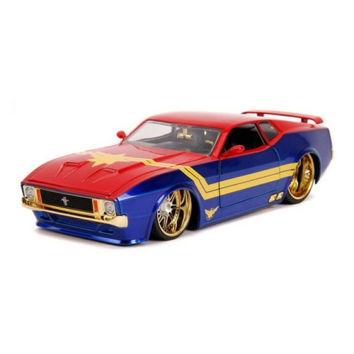 Fém autó 1973 Ford Mustang Captain Marvel fém figurával 1:24