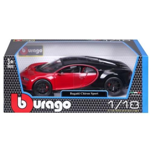 Fém autó Bugatti Chiron piros-fekete 1:18 Bburago