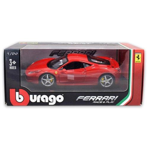 Fém autó Ferrari 458 Italia piros 1:24