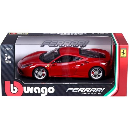 Fém autó Ferrari 488 GTB piros 1:24
