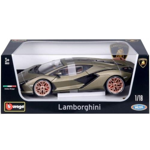 Fém autó Lamborghini Sián FKP 37 olajzöld 1:18 Bburago