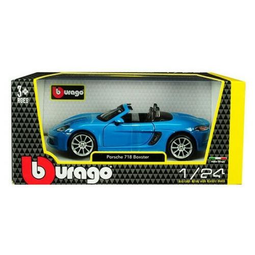 Fém autó Porsche 718 Boxter türkiz kék 1:24 Bburago