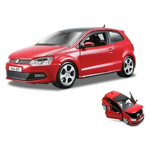 Fém autó VW Polo 5 GTI piros 1:24 Bburago