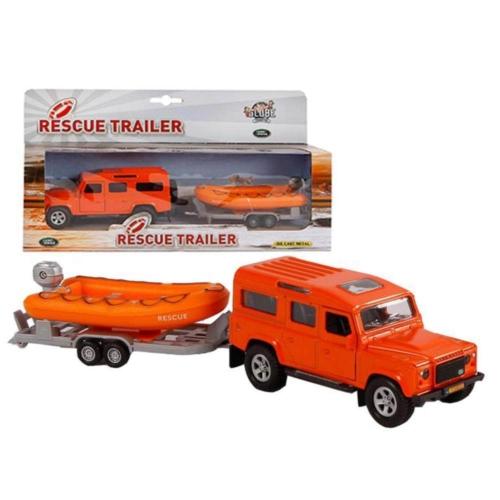 Fém hátrahúzós Land Rover terepjáró és motorcsónak utánfutóval narancs