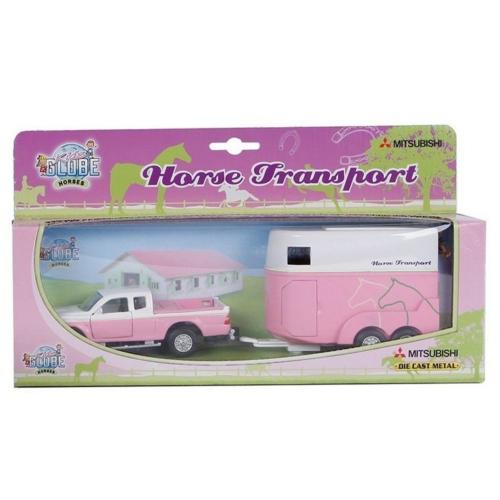 Fém hátrahúzós Pick-up teherautó és lószállító pink