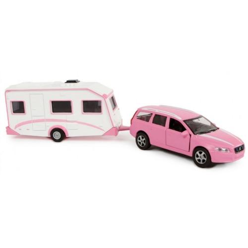 Fém hátrahúzós Volvo terepjáró lakókocsival pink