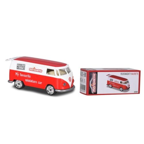 Fém kisautó VW T1 kisbusz piros-fehér