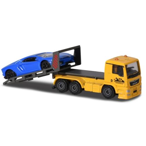 Fém kisautó utánfutóval MAN teherautó sportautóval