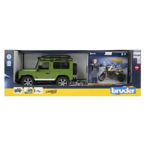 Játékautó Land Rover Defender+ terepjáró utánfutóval és Scrambler Ducati motorral és figurával műanyag Bruder 1:16