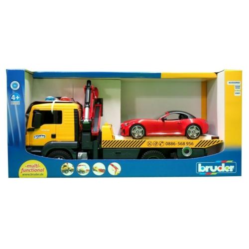 Játékautó MAN Trailer és sport coupé autó Bruder 1:16