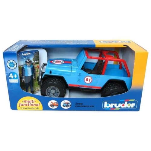 Játékautó terepjáró Jeep Wrangler figurával műanyag Bruder 1:16