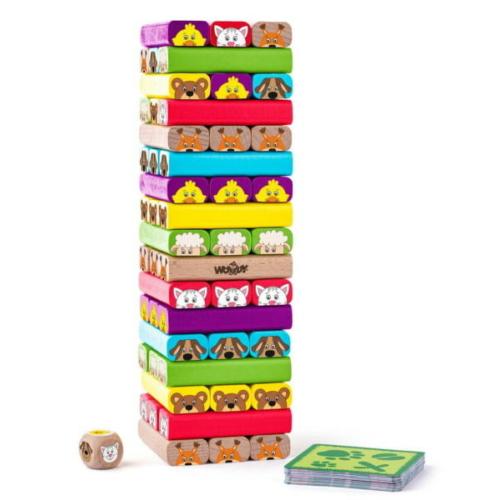 Játéktorony Sammy Tower fa 49 db-os és 24 db kártyával Woody