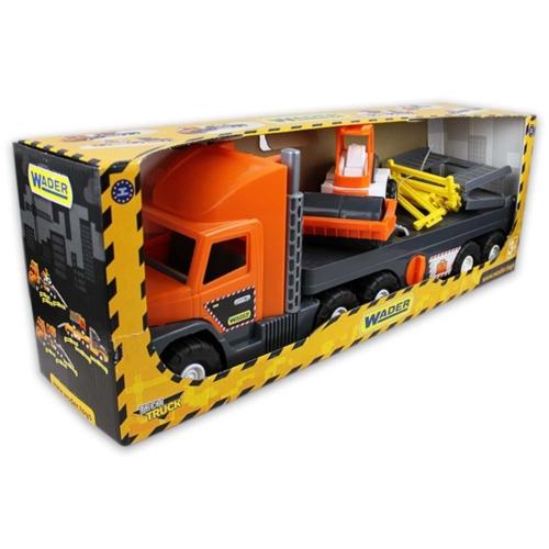 Kamion műanyag úthengerrel narancssárga, szürke Super Tech Truck