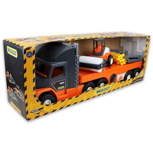 Kamion műanyag úthengerrel szürke, narancssárga Super Tech Truck