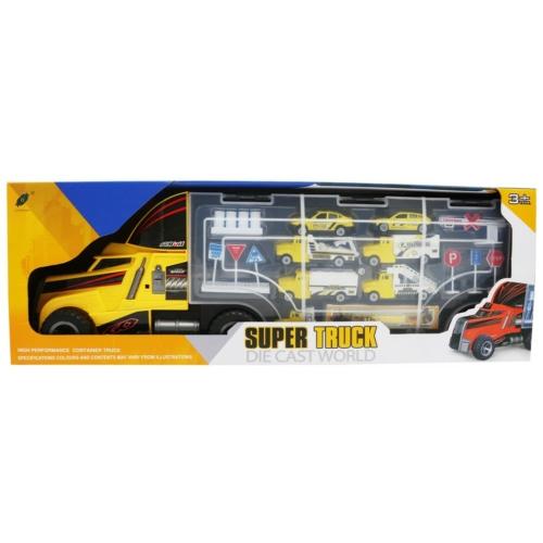 Kamion óriás autóhordó 7 fém kisautóval és kiegészítőkkel sárga
