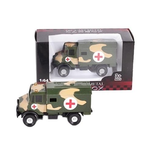 Katonai jármű terep színű fém korházi kamion 1:64