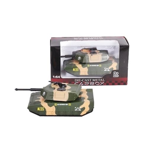 Katonai jármű terep színű fém tank 1:64