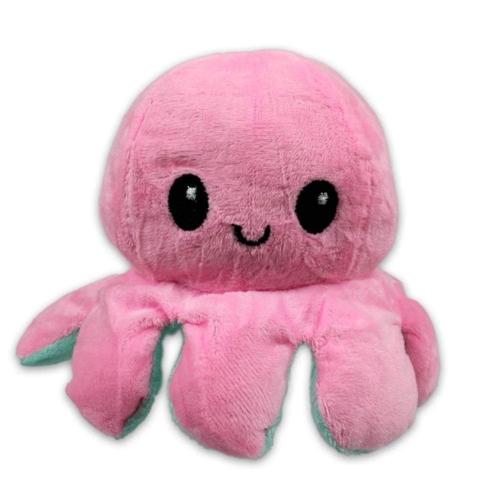 Kifordítható hangulat polip plüss rózsaszín-türkiz 12 cm