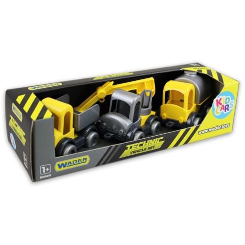 Kisautó játék szett Munkagépek 3 db-os sárga-szürke műanyag Kid Cars