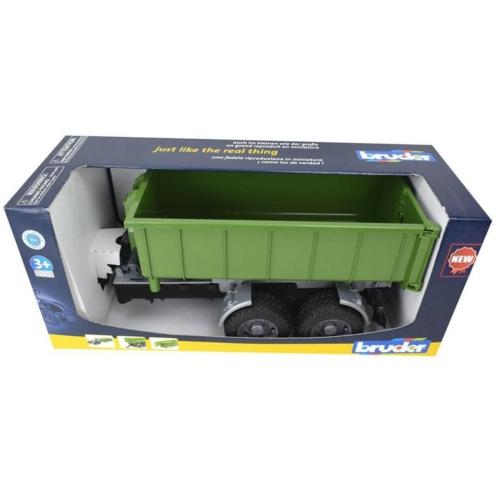 Kisautó utánfutó konténeres zöld műanyag Bruder 1:16