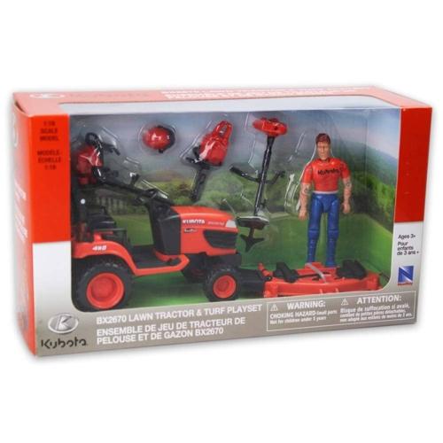 Kubota fűnyíró traktor figurával és kiegészítőkkel műanyag