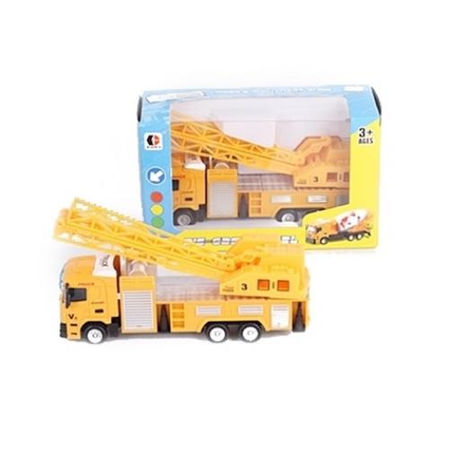 Munkagép sárga fém darus autó 1:64