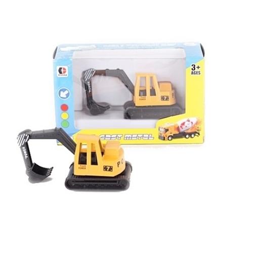 Munkagép sárga fém lánctalpas kotrógép 1:64