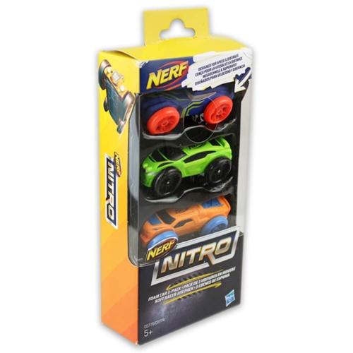 NERF Nitro szivacsautó 3 db-os készlet kék, zöld, narancs
